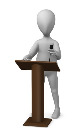 lectern: 3d render of cartoon character with podium