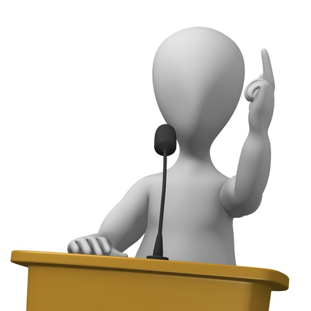 press conference: 3d render of cartoon character with podium