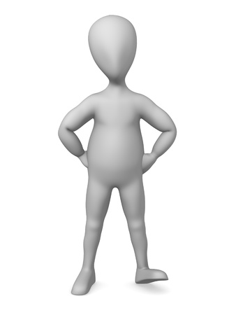 3d character making pose - angry Stock Photo - 12970041