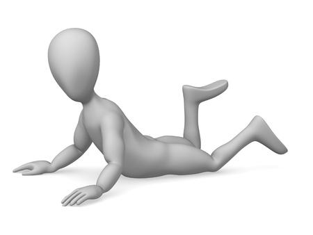 3d character making pose - lying Stock Photo - 12969589