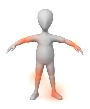 3d character making pose - joint pain Stock Photo