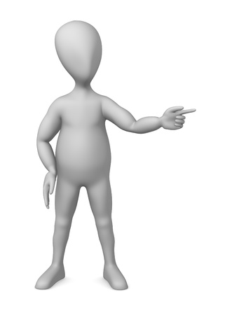 3d character making pose - showing something Stock Photo - 12969124