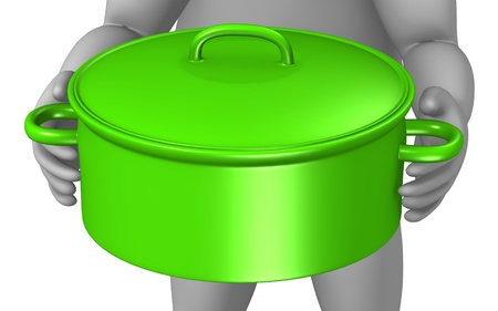 3d render of cartoon character with cooking pot Stock Photo - 12967808