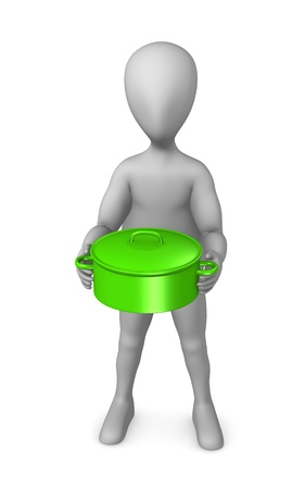 3d render of cartoon character with cooking pot photo