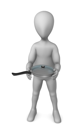 3d render of cartoon character with cooking pot Stock Photo - 12970644