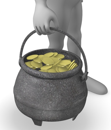 3d render of cartoon character with pot full of money photo