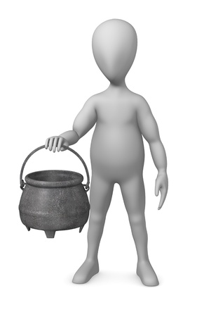 figourine: 3d render of cartoon character with pot