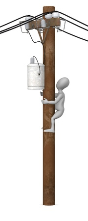 power pole: 3d render of cartoon character with powerline