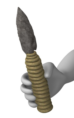 erectus: 3d render of cartoon character with prehistoric tool  Stock Photo