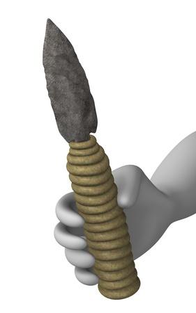 erectus: 3d rinden de personaje de dibujos animados con la herramienta prehist�rica