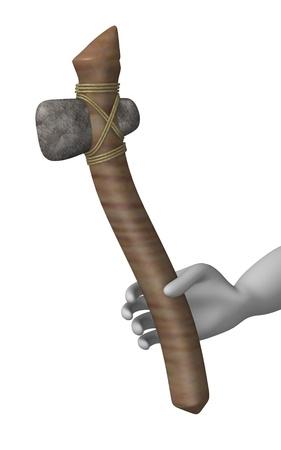 erectus: 3d rinden de personaje de dibujos animados con la herramienta de prehist�rica