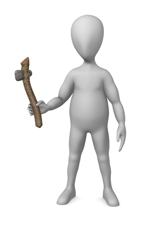 stockie: 3d render of cartoon character with prehistoric tool  Stock Photo