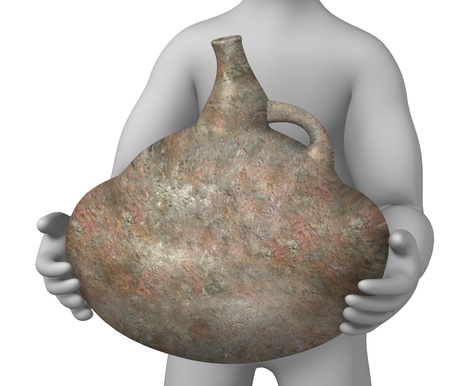 habilis: 3d render of cartoon character with prehistoric vase  Stock Photo