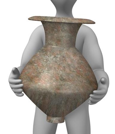 3d render of cartoon character with prehistoric vase  photo