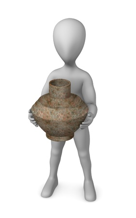 3d render of cartoon character with prehistoric vase  photo