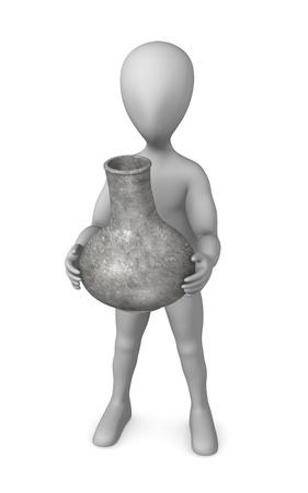 erectus: 3d render of cartoon character with prehistoric vase  Stock Photo