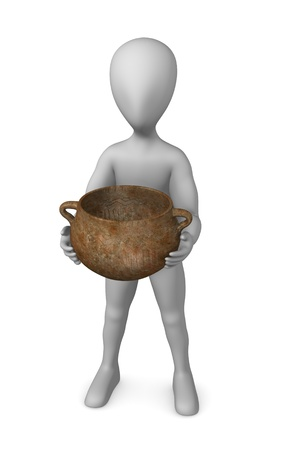 homo erectus: 3d render of cartoon character with prehistoric vase  Stock Photo