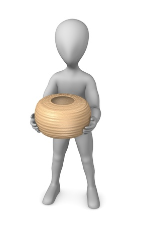 3d render of cartoon character with prehistoric vase  Stock Photo