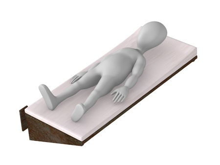 3d render of cartoon character with prison bed photo