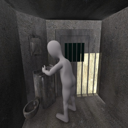 3d render of cartoon character with prison cell Stock Photo - 12967294