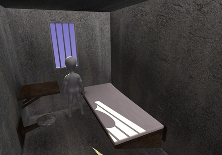 3d render of cartoon character with prison cell photo