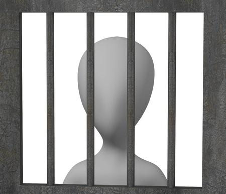 3d render of cartoon character with prison door photo