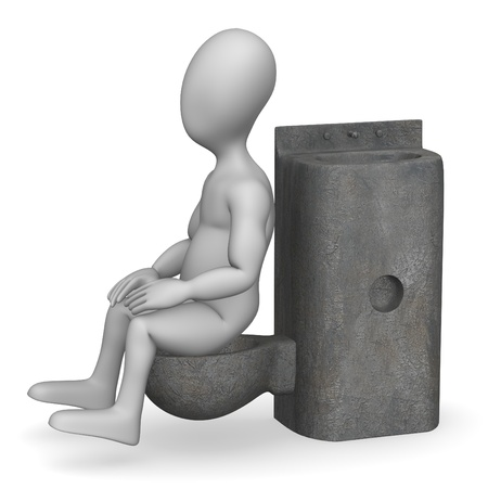 prison facility: 3d render of cartoon character with prison toilet