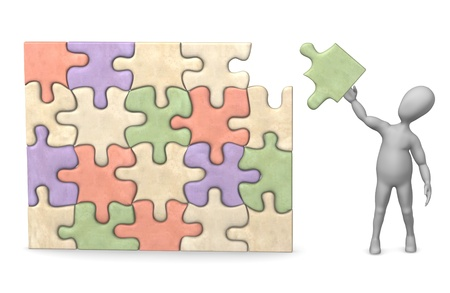 show bussiness: 3d render of cartoon character with puzzle