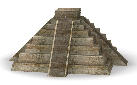 3d render of cartoon character and mexician pyramide  photo