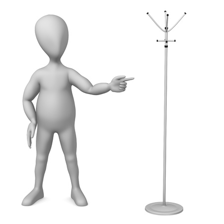 clothes rail: 3d render of cartoon character with rack
