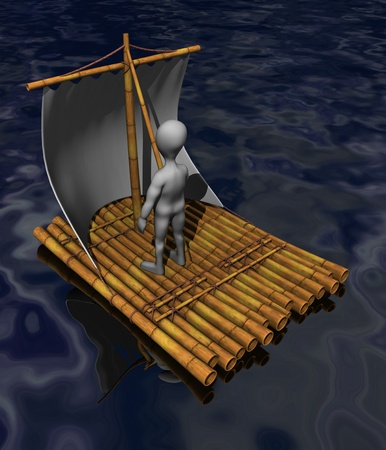 3d render of cartoon character on raft photo