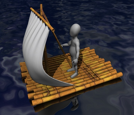 stockie: 3d render of cartoon character on raft