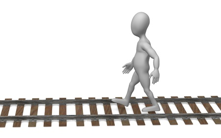 3d render of cartoon character with railway