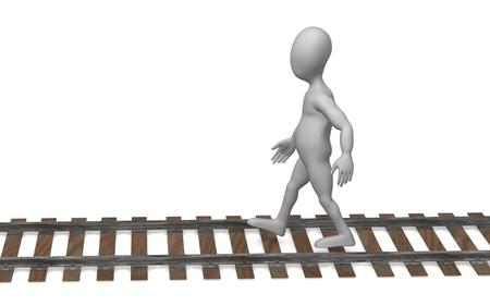 Rendu 3D de personnage de dessin animé avec des chemins de fer
