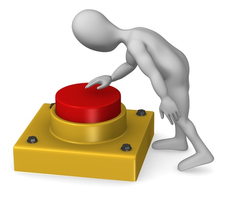 3d render of cartoon character with red button photo
