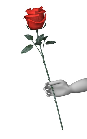 flower show: 3d render of cartoon character with red rose Stock Photo