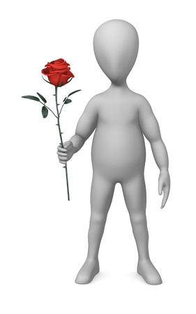 3d render of cartoon character with red rose photo
