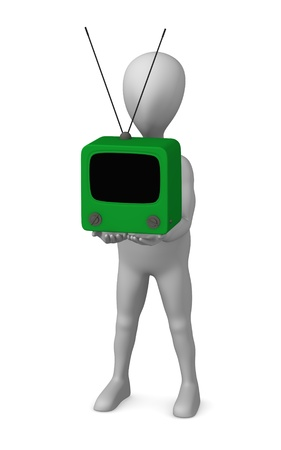 3d render of cartoon character with retro tv Stock Photo - 12971017