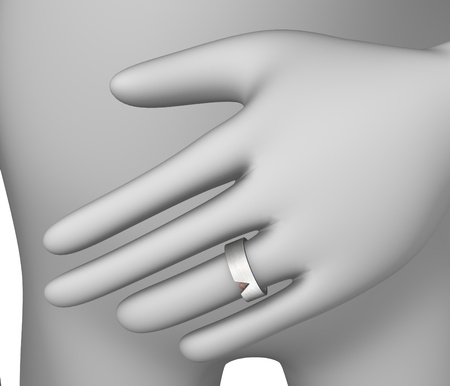 3d render of cartoon character with ring photo