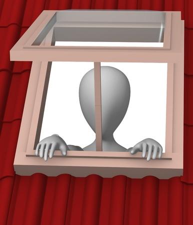 dormer: 3d render of cartoon character with roof window