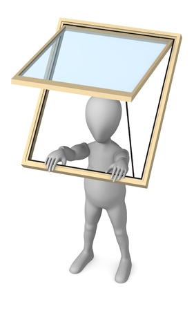 skylight: 3d render of cartoon character with roof window
