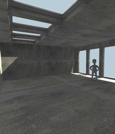 skylight: 3d render of cartoon character with windows