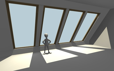 dormer: 3d render of cartoon character with windows