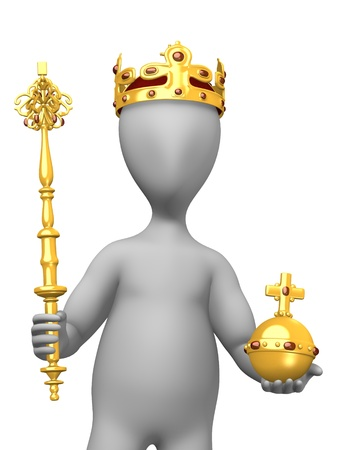 sceptre: 3d render of cartoon character with royal jewels Stock Photo