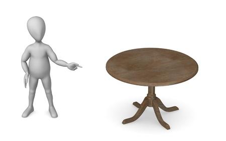 vizualisation: 3d render of cartoon character with restaurant table