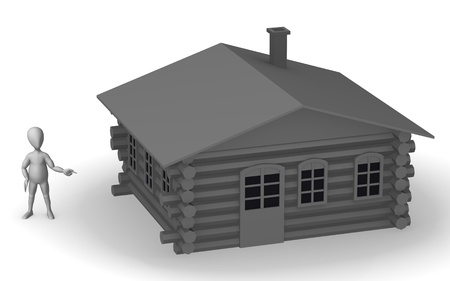 3d render of cartoon character with russian house Stock Photo - 12968134