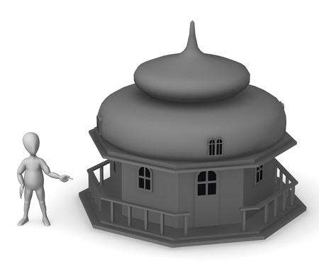 3d render of cartoon character with russian house Stock Photo - 12968896