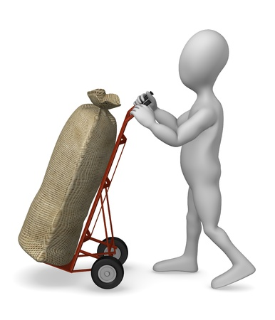 sack truck: 3d render of cartoon character with sack truck