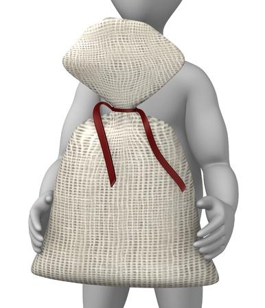 burlap bag: 3d render of cartoon character with sack Stock Photo
