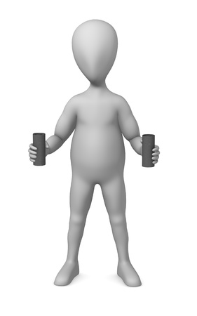 3d render of cartoon character with salt/pepper flask photo